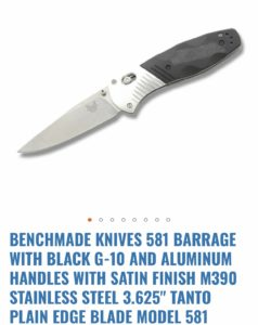 Benchmade 581 Barrage Plain Edge Model 581